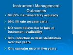 instrument management outcomes