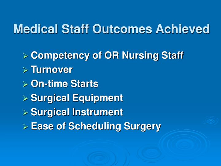 Medical Staff Outcomes Achieved