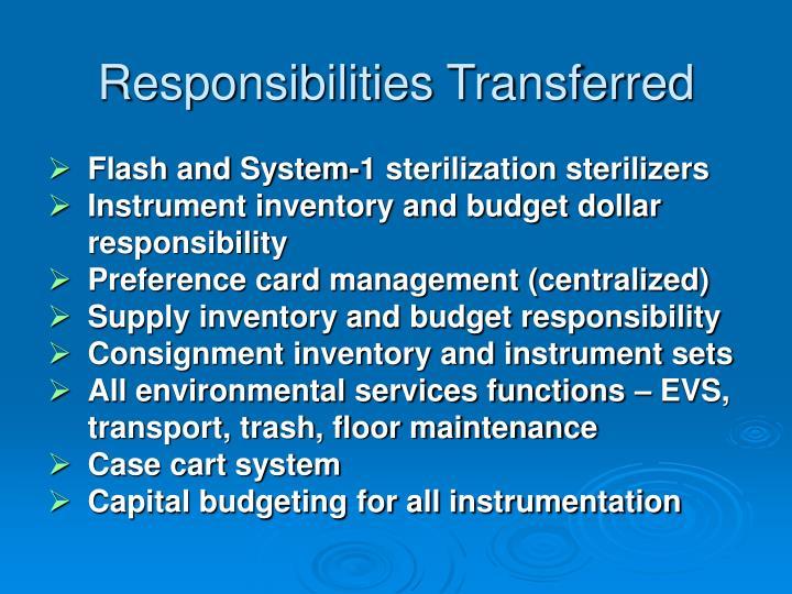 Responsibilities Transferred