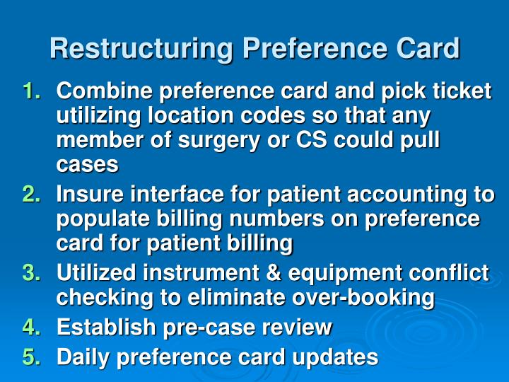 Restructuring Preference Card