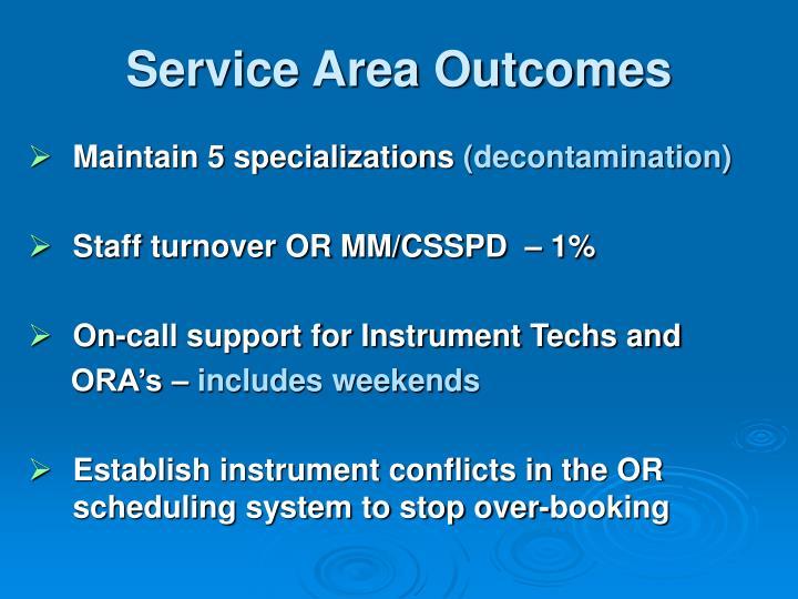 Service Area Outcomes