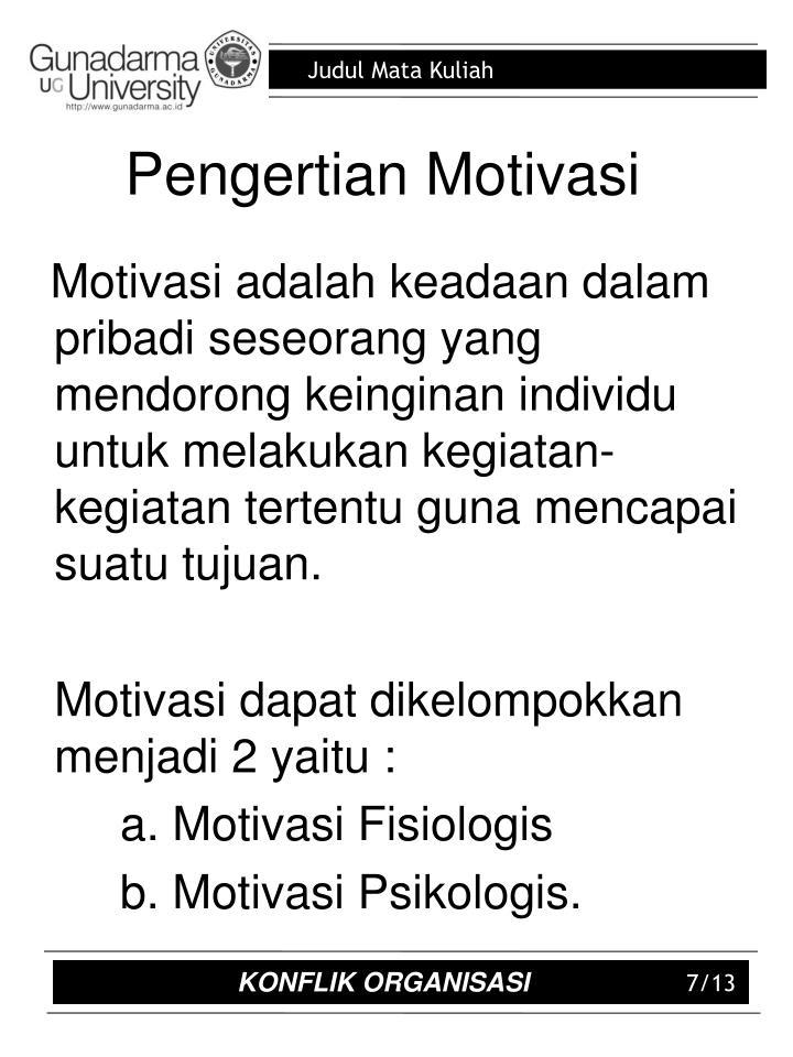 Pengertian Motivasi