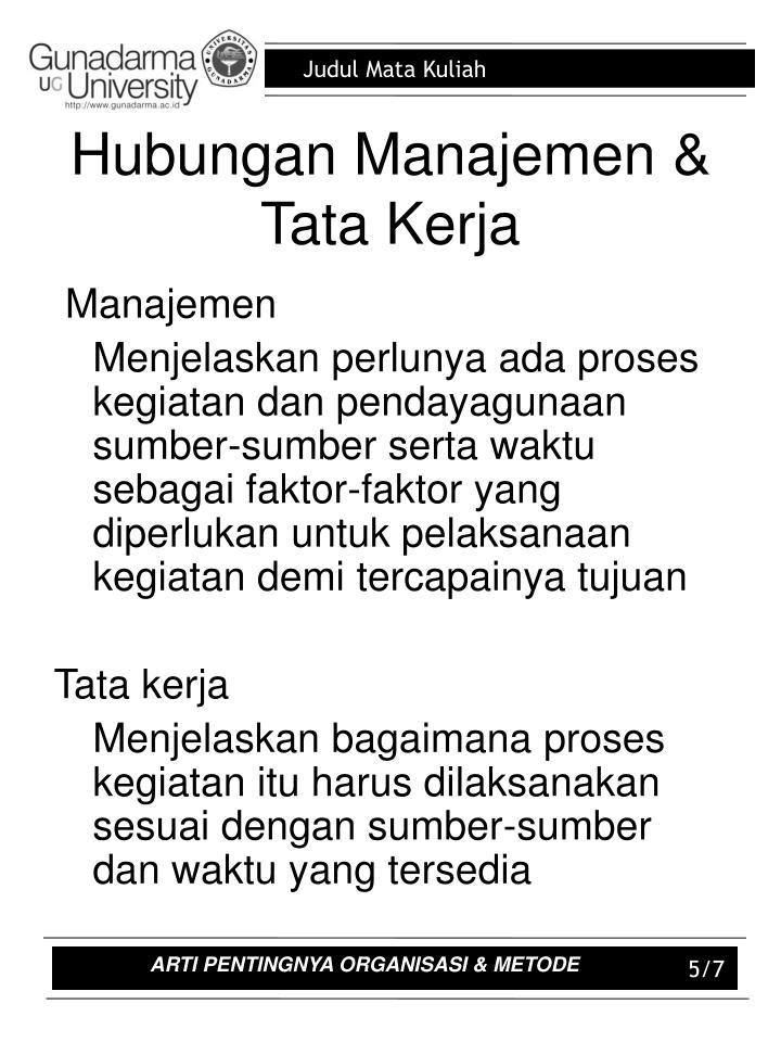 Hubungan Manajemen & Tata Kerja