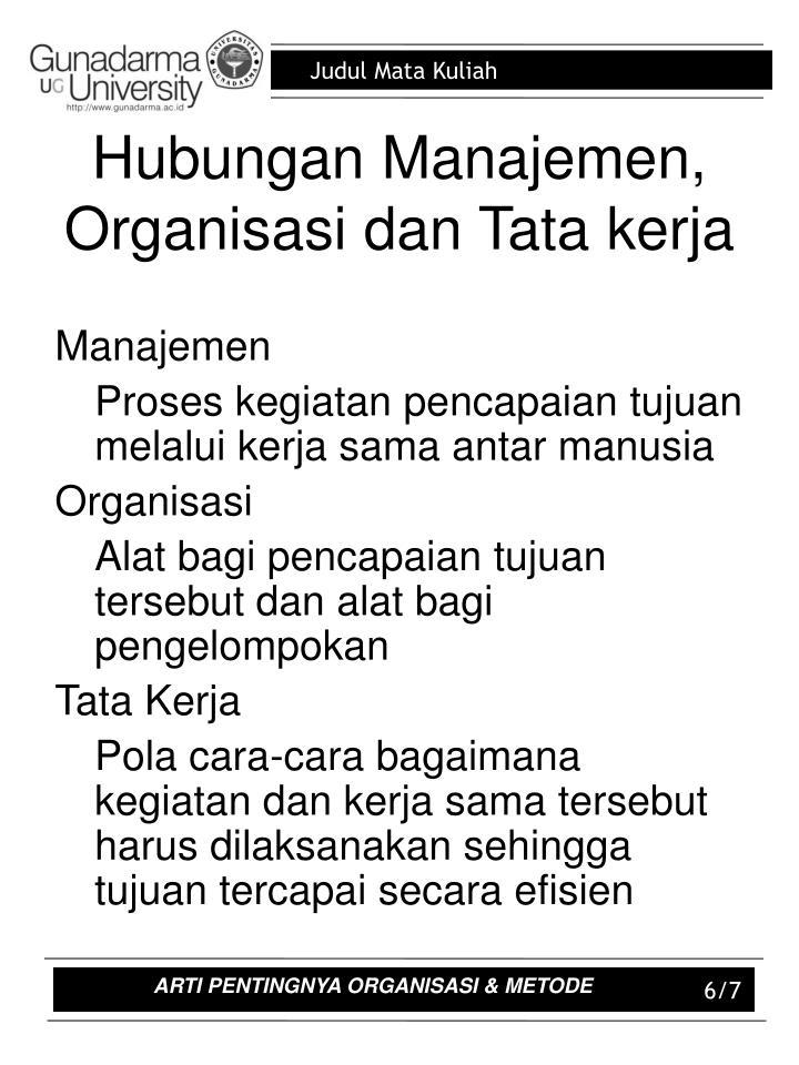 Hubungan Manajemen, Organisasi dan Tata kerja