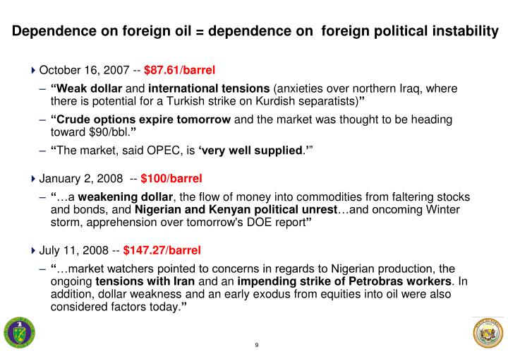 Dependence on foreign oil = dependence on  foreign political instability