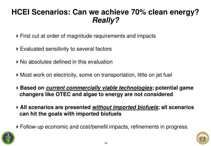 HCEI Scenarios: Can we achieve 70% clean energy?