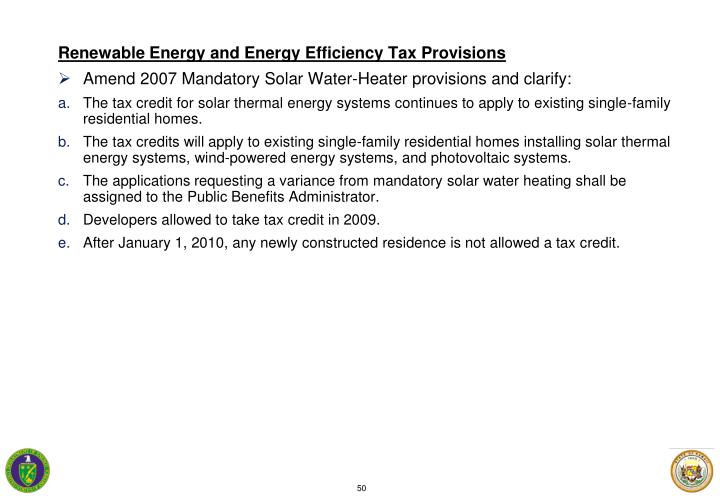 Renewable Energy and Energy Efficiency Tax Provisions