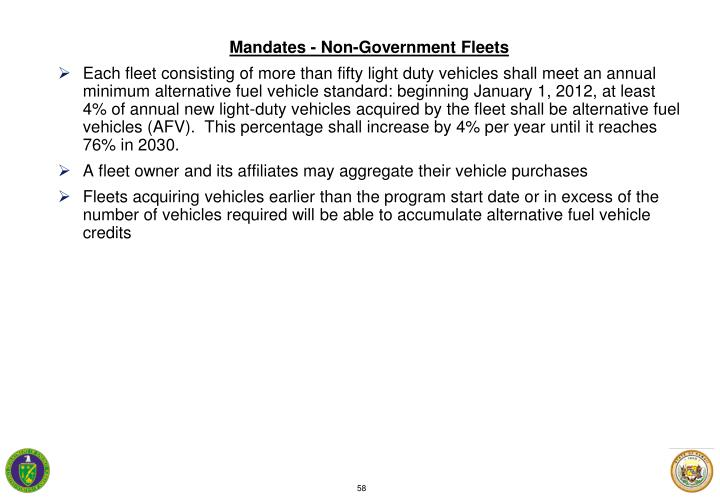 Mandates - Non-Government Fleets