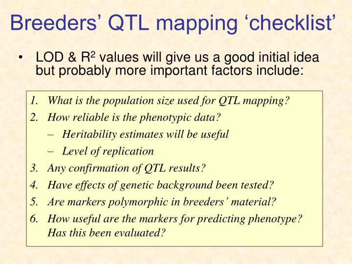 Breeders' QTL mapping 'checklist'