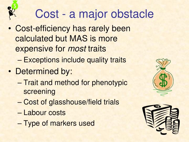 Cost - a major obstacle