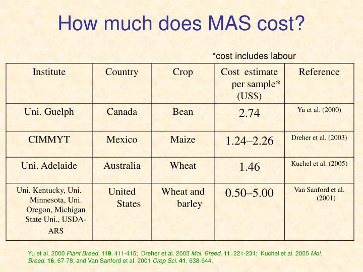 How much does MAS cost?