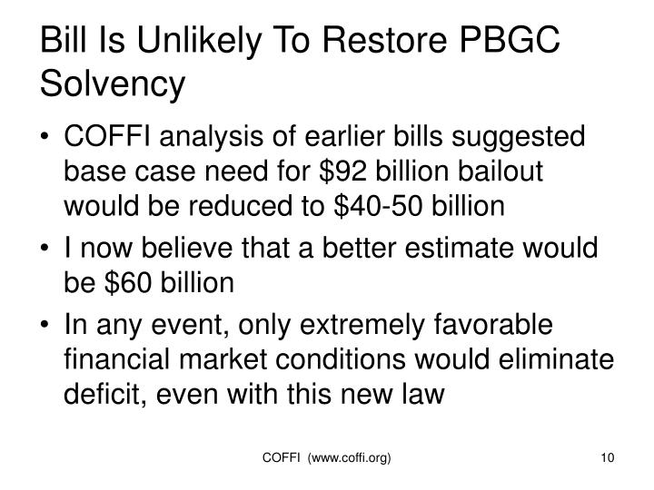 Bill Is Unlikely To Restore PBGC Solvency