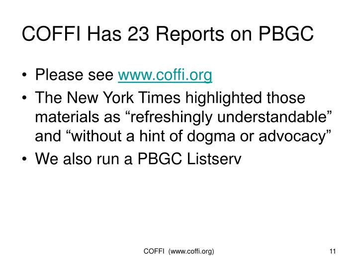 COFFI Has 23 Reports on PBGC