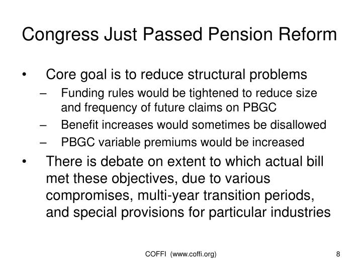 Congress Just Passed Pension Reform
