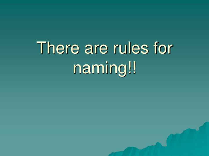 There are rules for naming!!