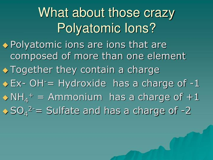 What about those crazy Polyatomic Ions?