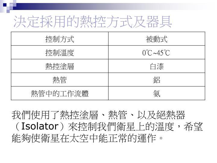 決定採用的熱控方式及器具