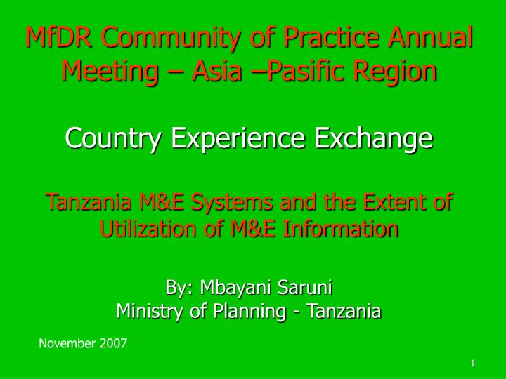 MfDR Community of Practice Annual Meeting – Asia –Pasific Region