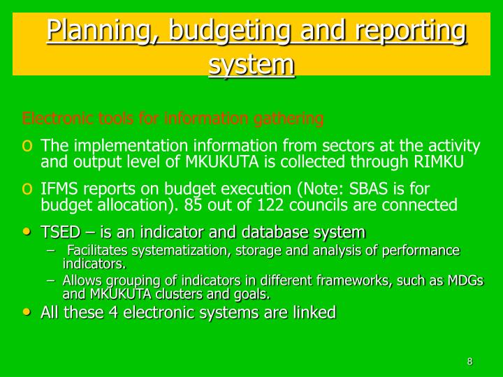 Planning, budgeting and reporting system