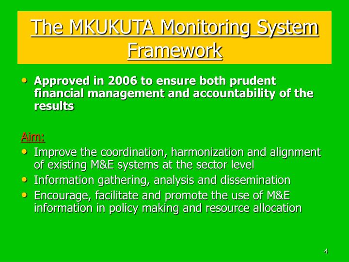 The MKUKUTA Monitoring System Framework
