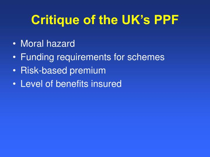 Critique of the UK's PPF