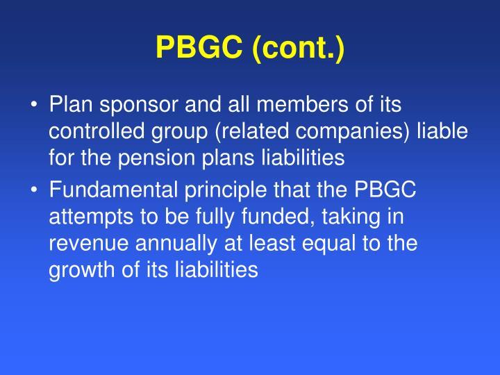 PBGC (cont.)