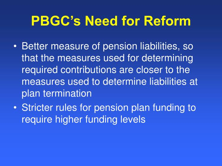 PBGC's Need for Reform