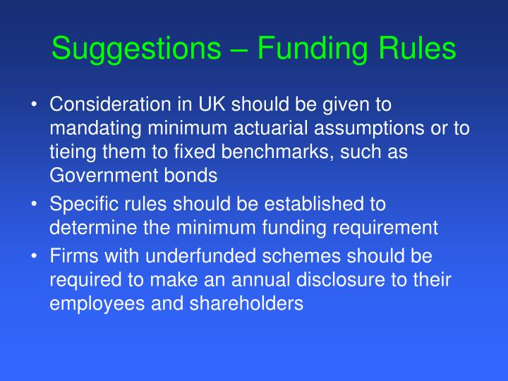 Suggestions – Funding Rules