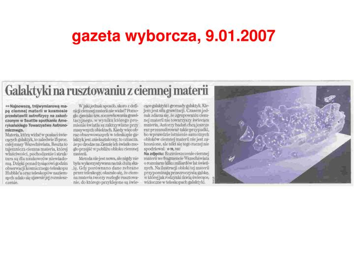 gazeta wyborcza, 9.01.2007