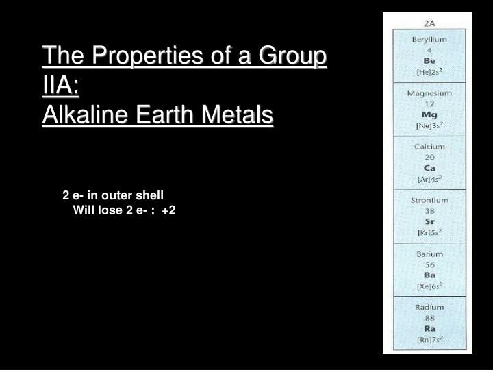 The Properties of a Group IIA: