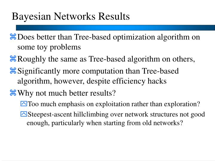 Bayesian Networks Results