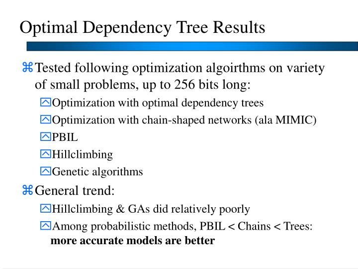 Optimal Dependency Tree Results