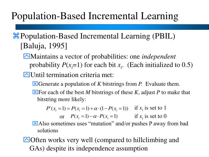 Population-Based Incremental Learning