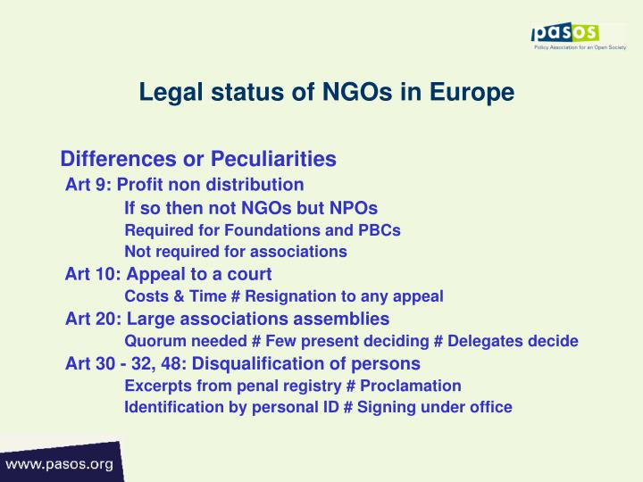 Legal status of NGOs in Europe