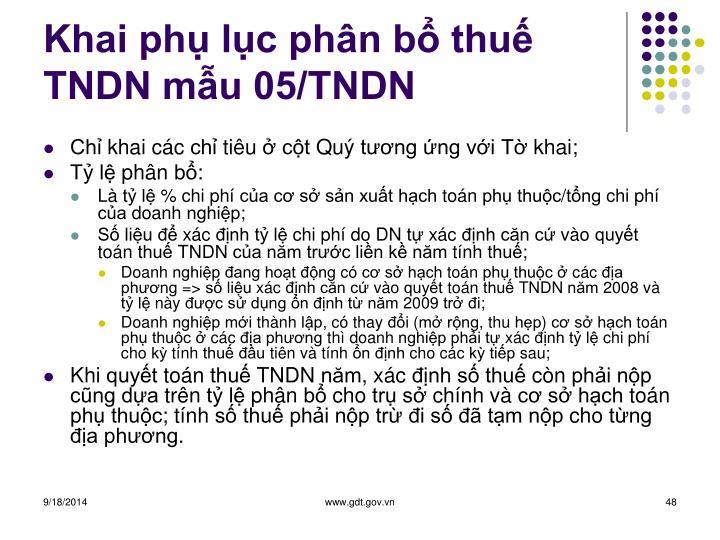Khai phụ lục phân bổ thuế TNDN mẫu 05/TNDN