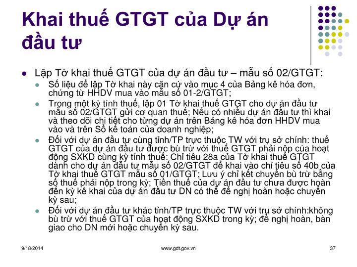 Khai thuế GTGT của Dự án đầu tư
