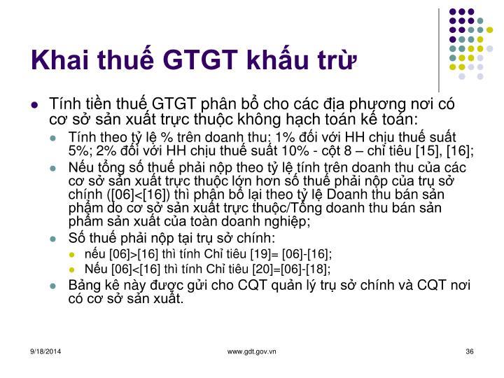 Khai thuế GTGT khấu trừ