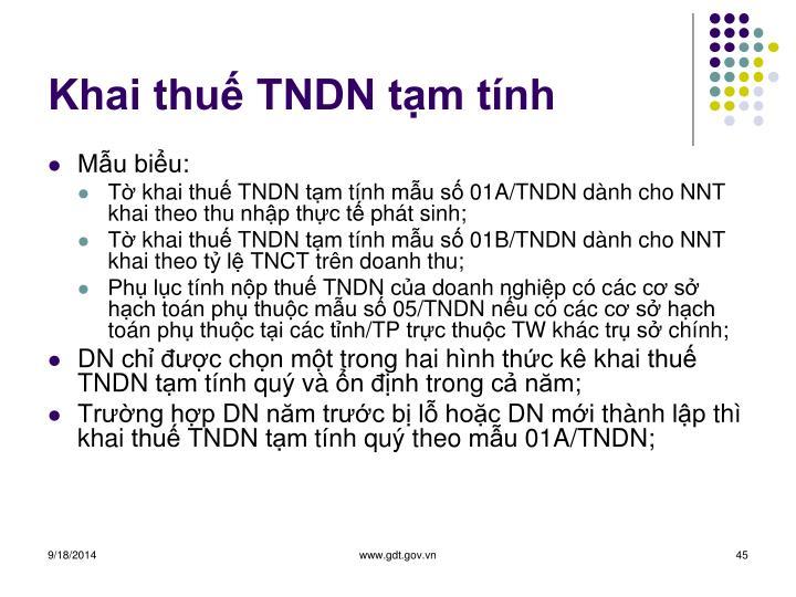 Khai thuế TNDN tạm tính
