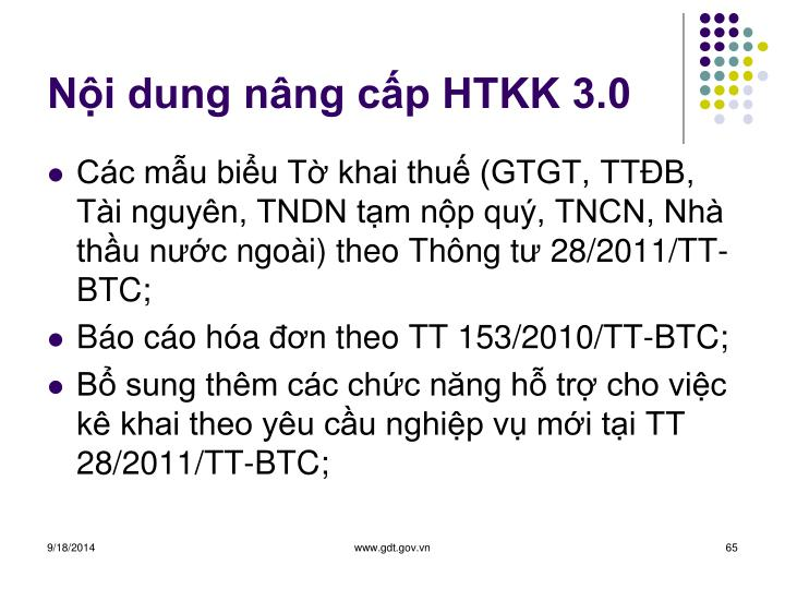 Nội dung nâng cấp HTKK 3.0