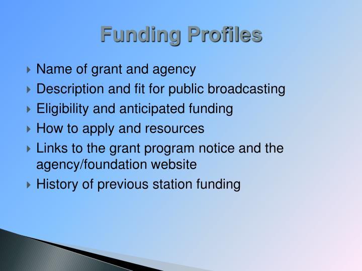 Funding Profiles