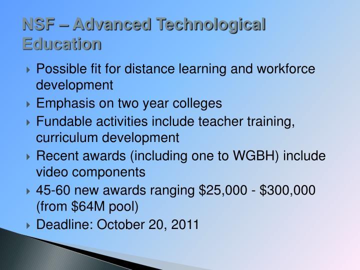 NSF – Advanced Technological Education