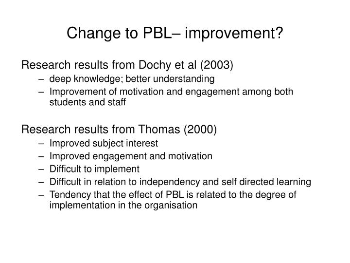 Change to PBL– improvement?