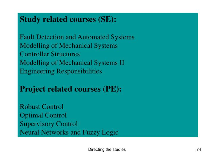 Study related courses (SE):