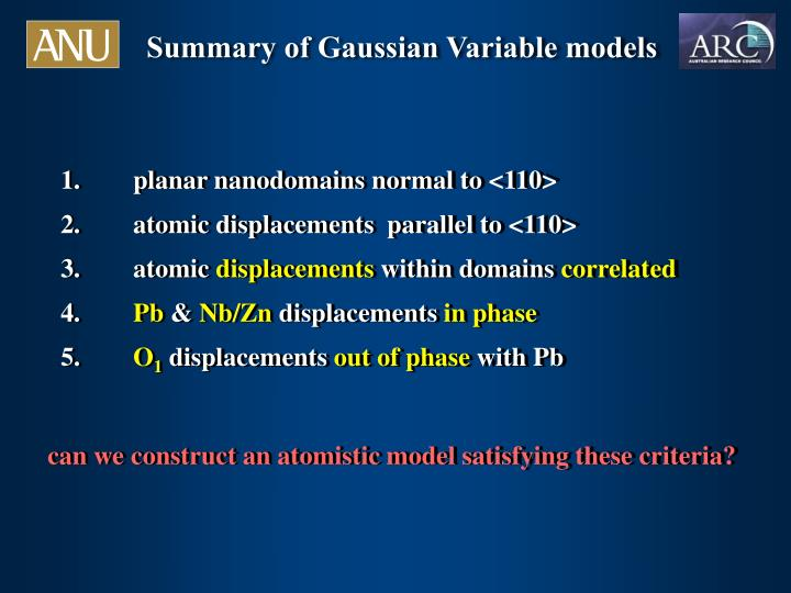 Summary of Gaussian Variable models
