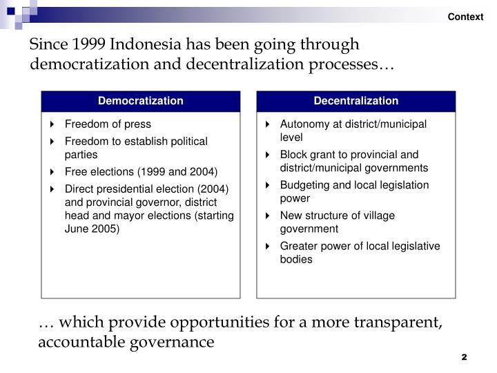 "decentralization and democratization in indonesia Indonesia has pursued what has come to be called the ""big bang"" method of  decentralization reforms with a relatively dramatic shift from the highly centralized ."