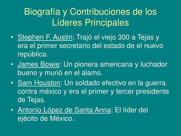 Biografía y Contribuciones de los Líderes Principales