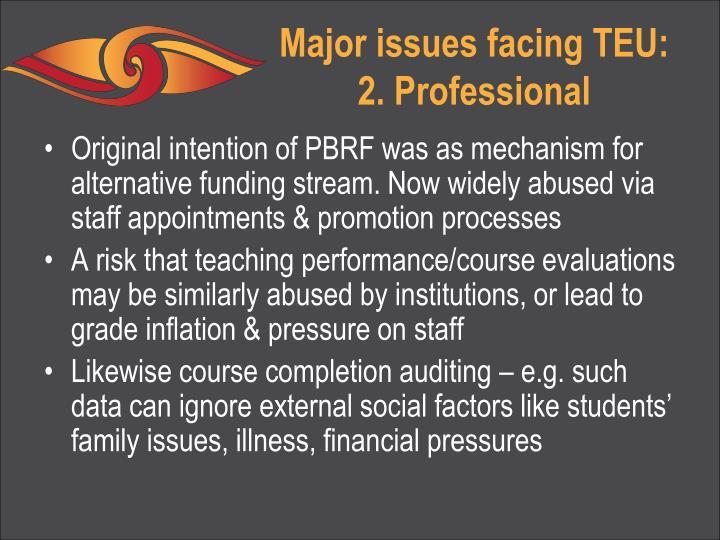 Major issues facing TEU: