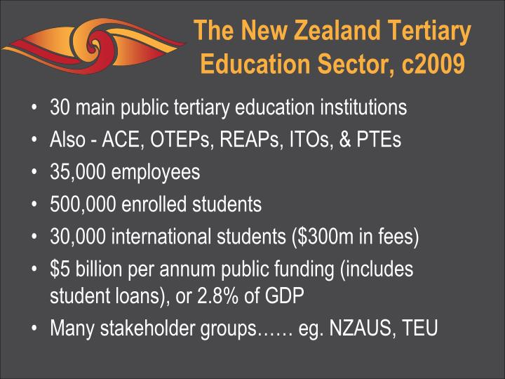 The new zealand tertiary education sector c2009