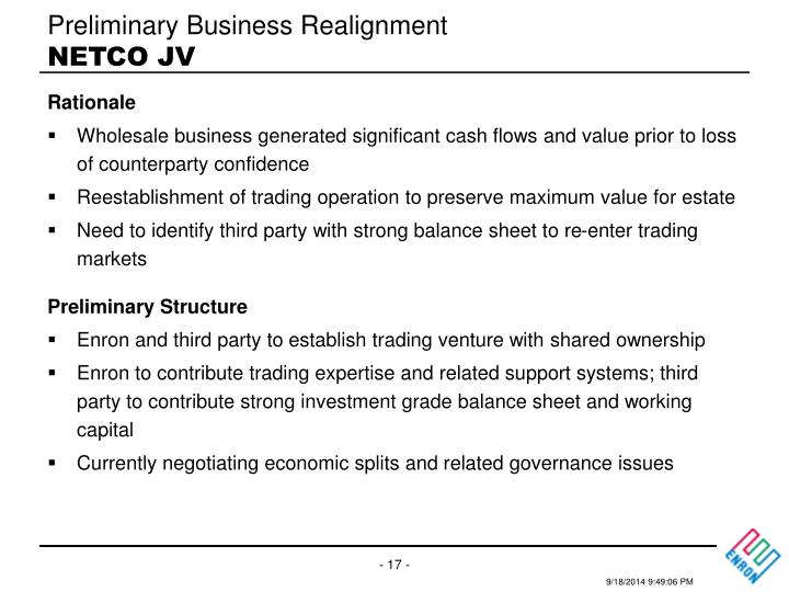 Preliminary Business Realignment