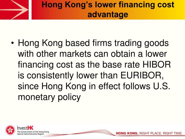 Hong Kong's lower financing cost advantage